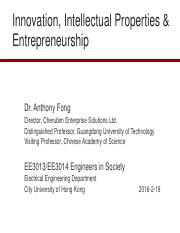 Revised - Innovation, Intellectual Properties & Entrepreneurship