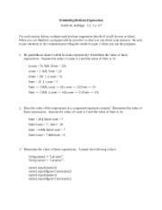 a1 - Boolean Expressions Activity