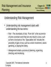 Chapter 26 - Risk Management and Insurance
