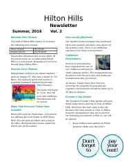 kamau, sammy Final Exam - Newsletter