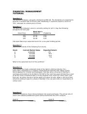 TUTORIAL (stock valuation, cost of capital & risk returns).docx
