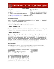 CRJU 1311 Intro to Criminal Justice - syllabus and course outline - Proctor-Spring 2013-TuThr Class