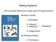 18. NOT ON FINAL- Mating systems