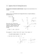 1.5 Algebraic Rules for Finding Derivatives