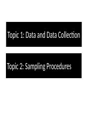 Chapter 1 & 2, - Data and Data Collection , Sampling Procedures.pptx