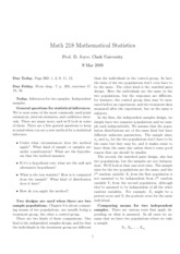 Math 218 Statistical Inferences