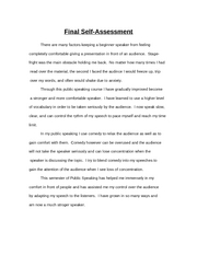 speech final assessment