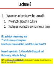 Lect 8 Dynamics of prok growth and nutrition