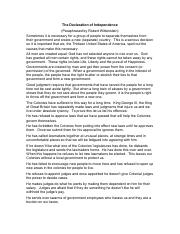Declaration Of Independence Worksheets