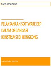 Implementation of enterprise resource planning (ERP) software in a major construction contracting or