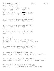 1hsfunctions-2 - Name Date Topic Composition of Functions Worksheet ...