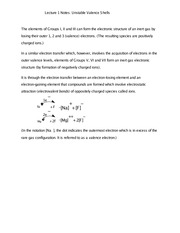 Lecture 1 Notes Unstable Valence Shells