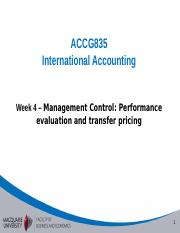Week 4 - Management Control - performance evaluation and transfer pricing-mine-handout.ppt