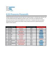 8.03 Pronoms Possessifs