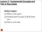 Lecture 2 Fundamental Concepts and Title to RE
