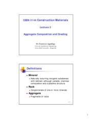 CEEN 3144 L2 Aggregate composition and grading