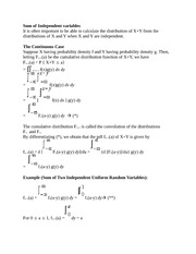 Math 348 Sum of Independent variables Notes