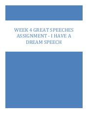 SPCH 275 WK4 Great Speeches (I have a dream) Assignment.pdf