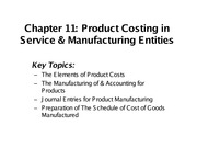 Test 1-Ch11-Product Costing in Service & Manufacturing Entities