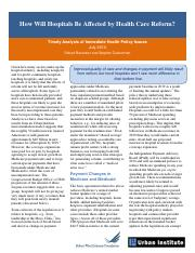 How Will Hospitals Be Affected by Health Care Reform rwjf62544.pdf