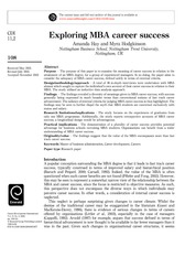 Class note: MBA career success