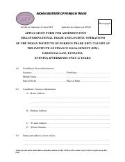 MBA ITLO APPLICATION FORM
