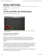 Arch Coal Files for Bankruptcy - WSJ