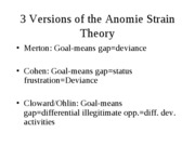 CHAPTER 2- VERSIONS OF THE ANOMIE STRAIN THEORY