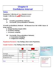 Chapter 8- Confidence Intervals-Fall 2013-