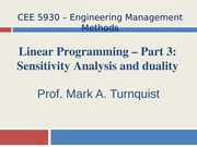 CEE 5930 Linear Programming -- Part 3 -- Fall 2014