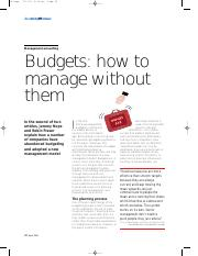 6-Budgets - How to manage without them