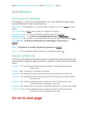 11.4 WS- Answers.doc - Answers 11.4 Meiosis Chromosome ...