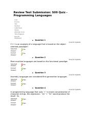 S09 Quiz - Programming Languages