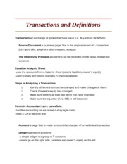 Transactions and Definitions
