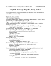 Exam I. Chapter 1.2.Study Guides.Socl 105.Orrange.W08