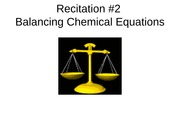 Recitation #2-Balancing Chemical Equations
