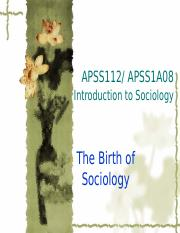 lecture-birth of sociology