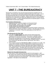 Unit 7 Federal Government Class Notes