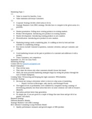Marketing Topic 1 Study Notes