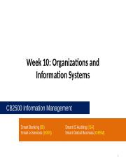 CB2500 - Week10 - Organizations and Information Systems
