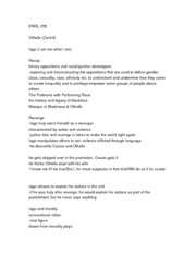 ENGL 258 Lecture Notes (Othello Cont'd)