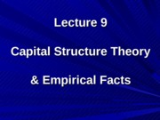 Lecture9 - capital structure theory