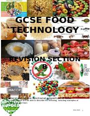 GCSE Food Technology section B revision booklet