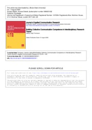 BuildingCollectiveCommunicationCompetenceinInterdisciplinaryResearchTeams