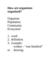 How are organisms organized foldable
