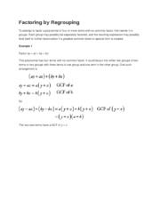 Factoring by Regrouping