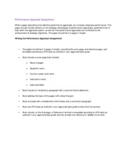 Performance Appraisal Assignment Instructions