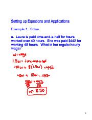 Setting up Equations and Applications