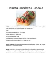 Tomato Bruschetta Snack Assignment