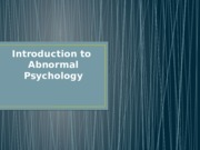 01S - Intro to Abnormal Psychology